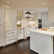 dark wood floor kitchen. Stunning Kitchen With White Cabinetry  Dark Hardwood Flooring Photos HGTV