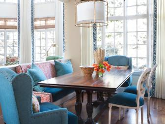 Transitional Breakfast Nook With Blue Armchair