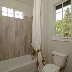 Coastal Guest Bathroom With Wood Look Tile Shower Part 92