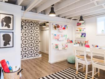 Kids' White Contemporary Studio Basement
