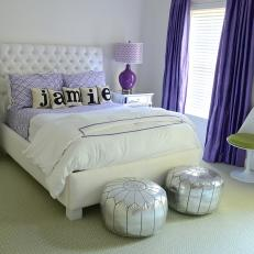Glam Teen Girlu0027s Bedroom With Purple Patterns And Silver Accents