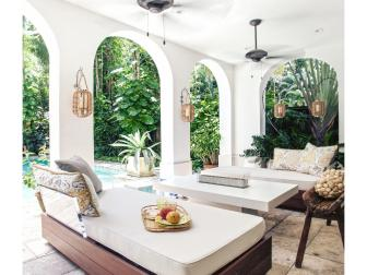 White Mediterranean Covered Porch With Daybed