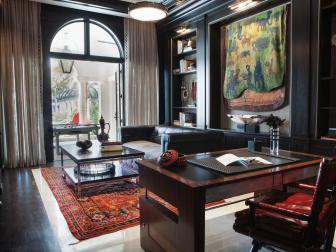 Eclectic Office With Luxurious Furnishings