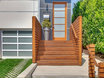 Contemporary Home Entryway Stairs and Front Door