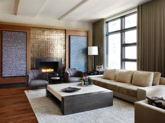 Neutral Contemporary Living Room With Gold Fireplace