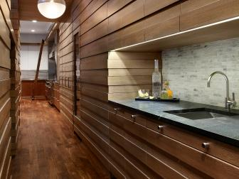 Contemporary Butler's Pantry With Wood Panels