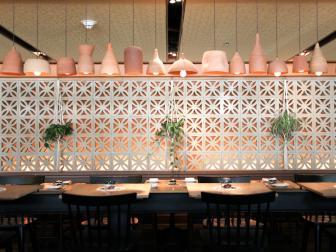 Ceramic Chandeliers in Mediterranean Restaurant
