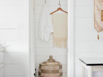 Pocket Door Into Small Yet Bright Bathroom