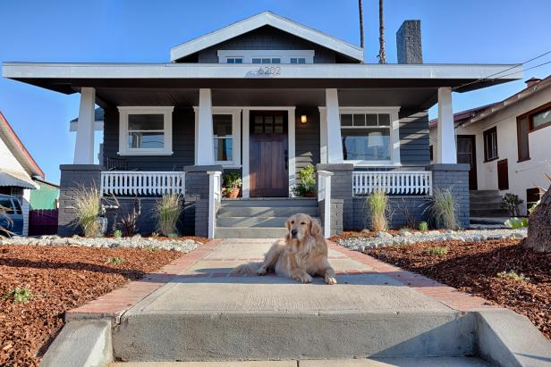 Gray and White Craftsman Exterior and Dog