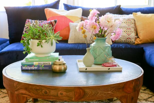 Accent Pillows and Coffee Table
