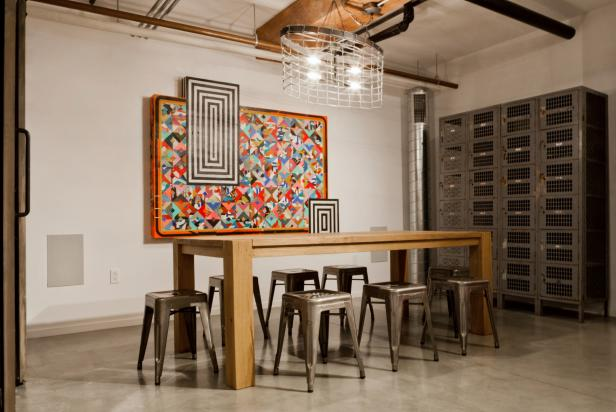 Dining Room With Modern Art Piece and Antique Lockers