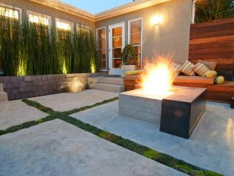 Patio with Concrete Pavers and Fire Pit