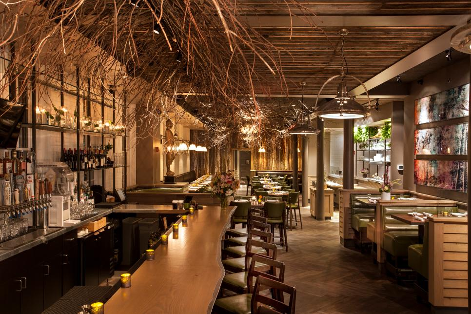 Nature Inspired Restaurant With Tree Branch Ceiling 2015