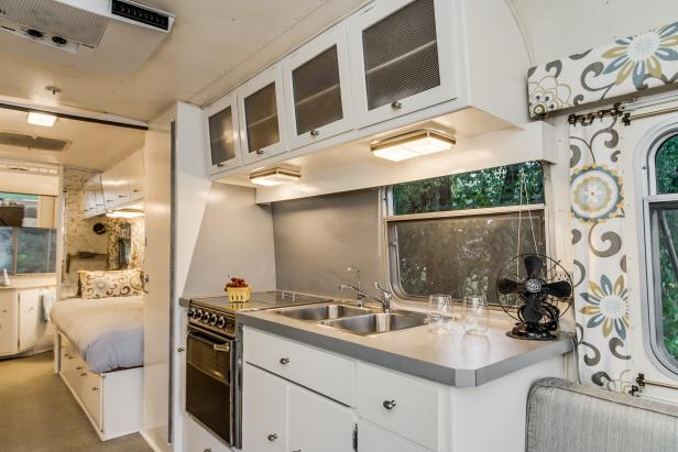 White Kitchen and Bedroom in Avion Trailer