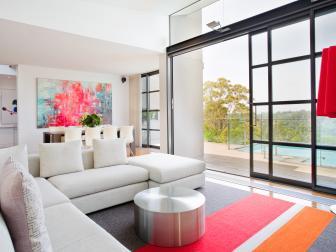 Custom Rug Adds Splash of Color to Modern Living Room