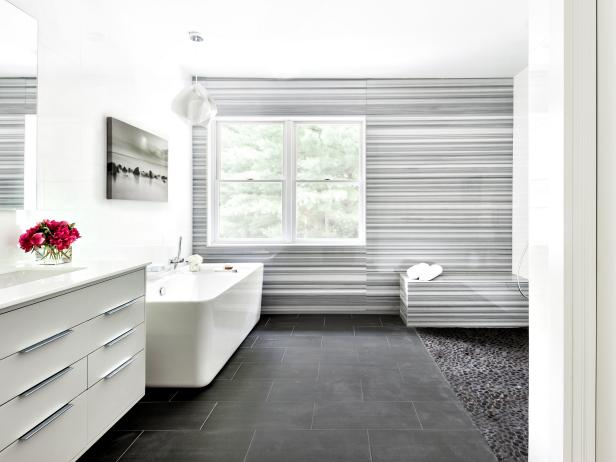Gray Marble Accent Wall Wows in Modern Bathroom