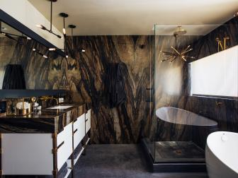Eye-Catching Master Bathroom Is Earthy Yet Glam
