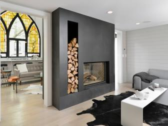 Black and White Modern Living Room With Fireplace