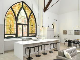 White Modern Great Room With Stained Glass Window