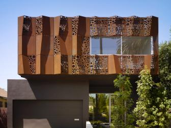 Modern Home Exterior Boasts Weathered Steel Panels