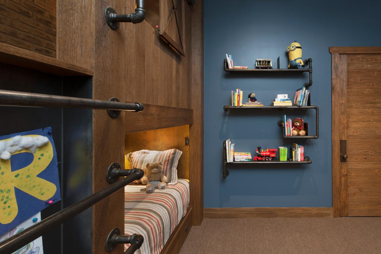 Brown and blue rustic bedroom - Pipe Bookshelves In Kid S Rustic Blue Room