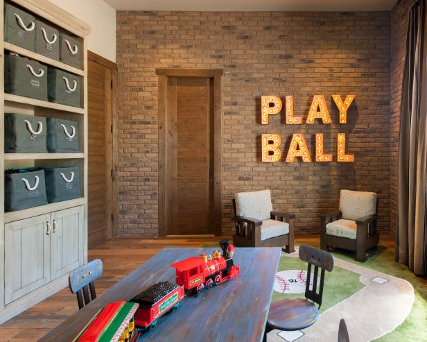 Neutral Rustic Playroom With Marquee Letters