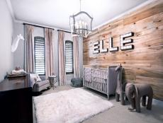 Neutral Rustic Nursery With White Rug