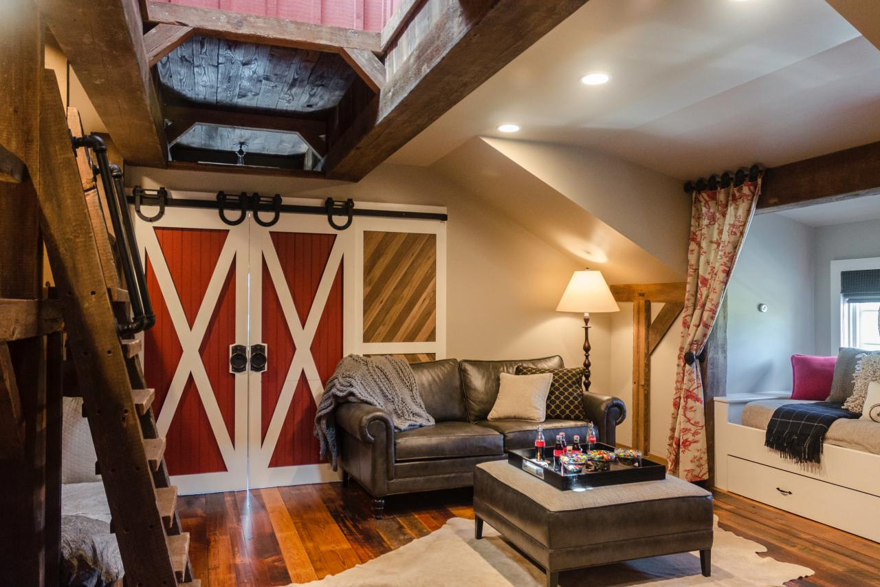tour this playful and functional barn-style kids' room | hgtv's