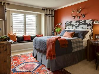 Orange Transitional Bedroom With Orange Rug