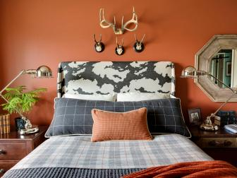 Orange Transitional Bedroom With Plaid Bedding