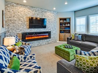 Neutral Basement Family Room With Green Ottoman