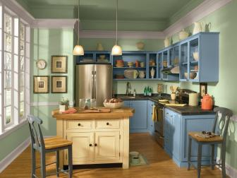 Green Kitchen With Blue Painted Cabinets