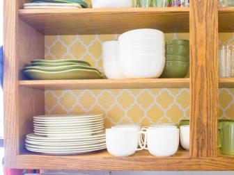 Yellow Backing in Kitchen Cabinet
