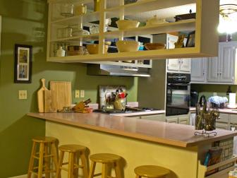 Open Shelving in Green Kitchen