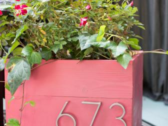 Cranberry-Red Planter Box With House Number
