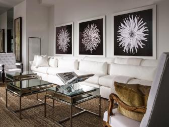White Transitional Living Room With Long Sofa