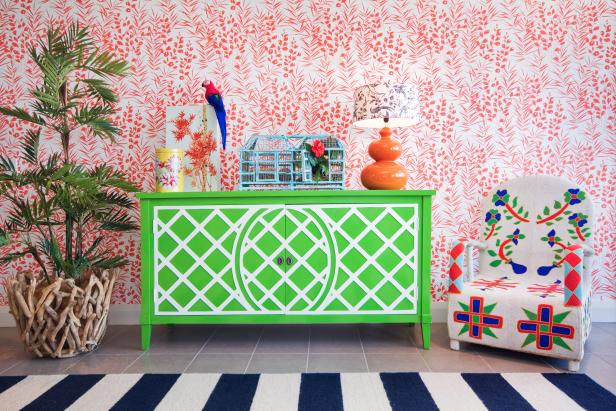 Painted Sideboard & Tropical Wallpaper