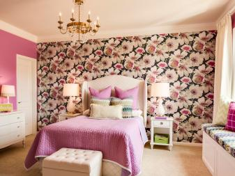 Pre-Teen's Pink and Purple Bedroom With Floral Accent Wall