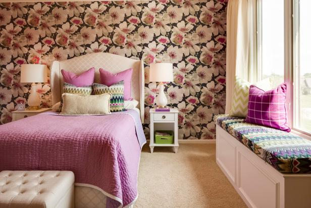 Pre-Teen Bedroom With Floral Wallpaper and Padded Headboard
