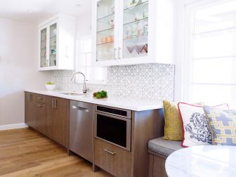 Bright & Airy Galley Kitchen With a Window Seat