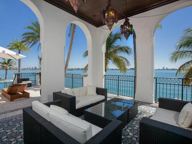 Patio: Waterfront Mansion Featured in Kourtney and Kim Take Miami