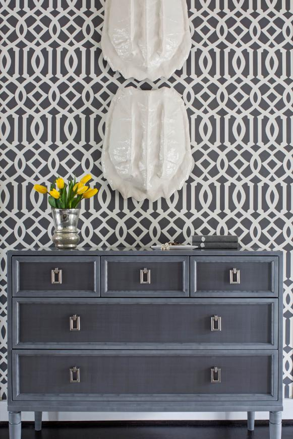 Gray Graphic Wallpaper and Dresser