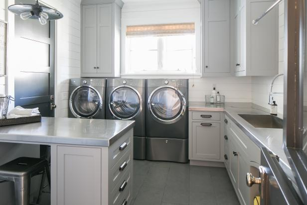Transitional Laundry Room Showcases Shades of Gray