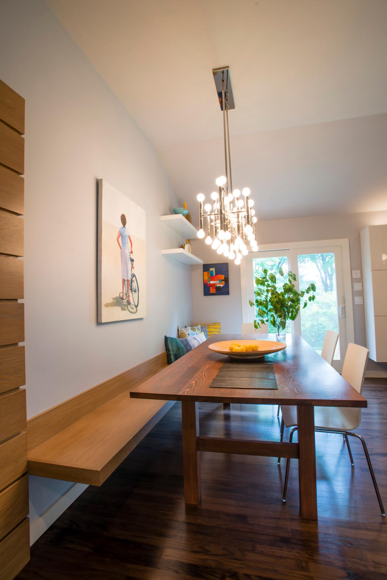Contemporary dining room with long wood table floating for Long dining table lighting