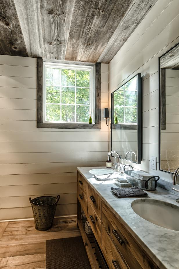 Rustic Double Vanity Bathroom With Reclaimed Wood Ceiling