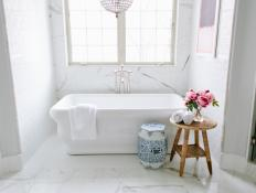 White Master Bath with Stand-Alone Tub