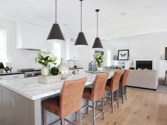 Contemporary Farmhouse Kitchen With Leather Barstools