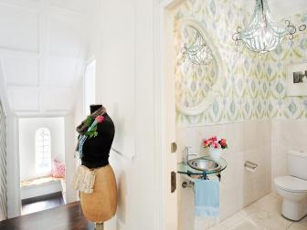Powder Room With Blue and Green Printed Wallpaper