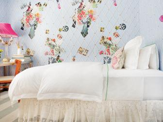 Periwinkle Teen Bedroom With Ribbons Attached to the Walls to Hold Photos
