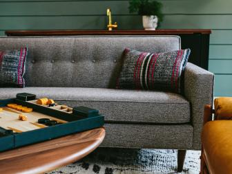 Gathering Room With Retro Gray Sofa